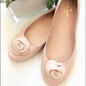 Kate Spade Pink leather Ballet flats with Rose